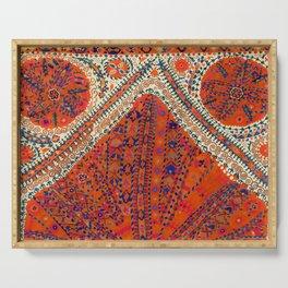 Orange Wildflower Sunshine III // 18th Century Colorful Rusty Red Bright Blue Metallic Happy Pattern Serving Tray