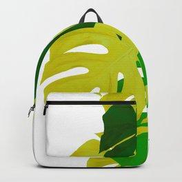 Green Monstera Leaves White Background #decor #society6 #buyart Backpack