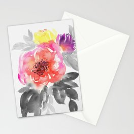 passionate hand painted watercolor floral, expressive bouquet Stationery Cards