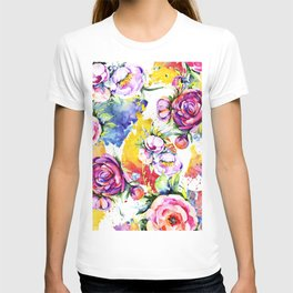 Spring Into Summer Watercolor Floral Joyous Pattern T-shirt
