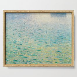Island in the Attersee Gustav by Klimt Date 1902 // Abstract Oil Painting Water Horizon Scene Serving Tray