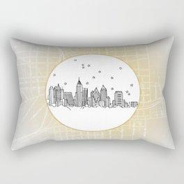 Atlanta, Georgia City Skyline Illustration Drawing Rectangular Pillow