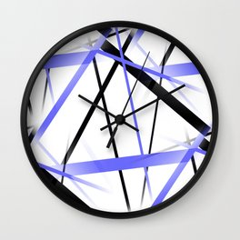 Criss Crossed Blue and Black Stripes on White Wall Clock