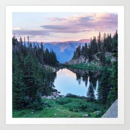 Hikers Bliss Perfect Scenic Nature View \ Mountain Lake Sunset Beautiful Backpacking Landscape Photo Kunstdrucke