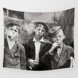 Newsies Boys Smoking Lewis Hine 1910 Wall Tapestry