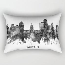 Austin Texas Skyline BW Rectangular Pillow