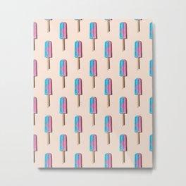 Icecream lollipops arranged on a cream background Metal Print