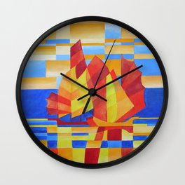 Sailing on the Seven Seas so Blue Cubist Abstract Wall Clock