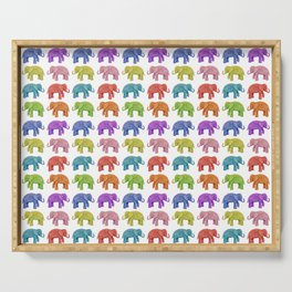 Colorful Parade of Elephants in Red, Orange, Yellow, Green, Blue, Purple and Pink Serving Tray