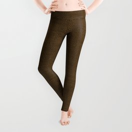 Dark Brown Christmas Burlap Cloth Leggings