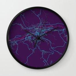 Cluj - Napoca Neon City Map, Cluj - Napoca Minimalist City Map Art Print Wall Clock