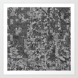 Pixelized Abstract Pattern / GRAY Art Print