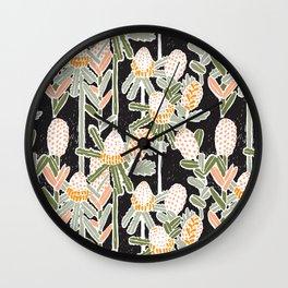 Red Honeysuckle & Mountain Banksias  Wall Clock