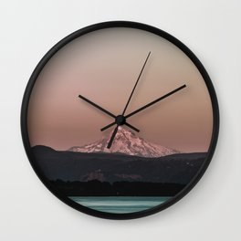 Pastel Peak - Mt. Hood over the Columbia Wall Clock