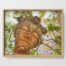 Luz Light Goddess Sculpture Mexico Tropical Forest Flowers Feminine Spirit Wooden Reclaimed Art Serving Tray
