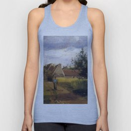 Entering a village by Camille Pissarro Unisex Tank Top
