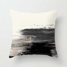 Artistic ivory black gold glitter paint brushstrokes Throw Pillow