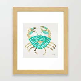 Crab – Turquoise & Gold Framed Art Print