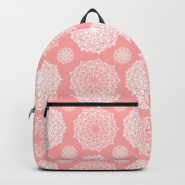 White Floral Mandala Pattern on Coral - Mix & Match with Simplicity of Life Backpack