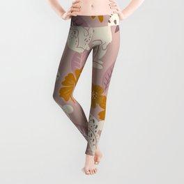 Bunnies & Blooms – Mauve & Ochre Palette Leggings