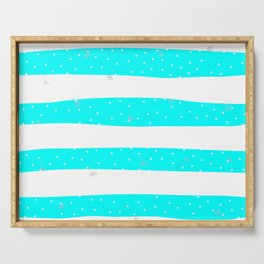 flying dandelion seeds simple Christmas seamless pattern and Snow white Confetti on Blue Cyan and White Stripes Background Serving Tray