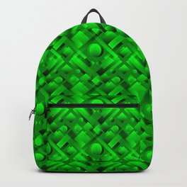 Volumetric design with interlaced circles and green rectangles of stripes. Backpack