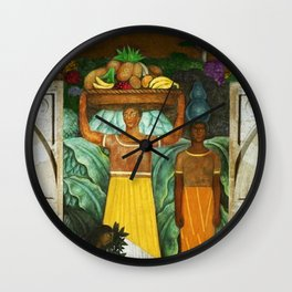 Tehuana Women Bringing Fruit to Market by Diego Rivera Wall Clock