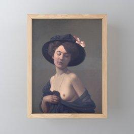 Woman with a Black Hat Framed Mini Art Print