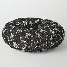 Dinosaur Fossils on Black Floor Pillow