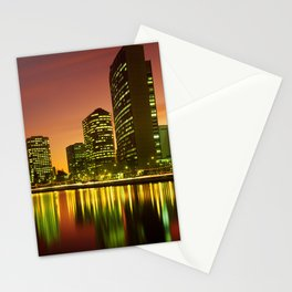 Lake Merritt and Downtown Oakland in Golden Sunset Stationery Cards