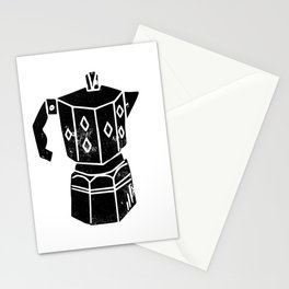 Moka Pot coffee linocut black and white minimal foodie kitchen coffee lover art Stationery Cards