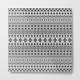 Aztec Essence Pattern Black on White Metal Print