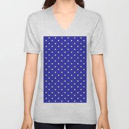 Dotted (White & Navy Pattern) Unisex V-Neck
