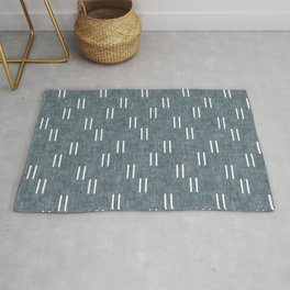 double dash on stone blue Rug