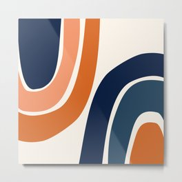 Abstract Shapes 35 in Burnt Orange and Navy Blue Metal Print