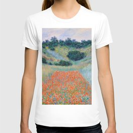 Poppy Field in a Hollow near Giverny Claude Monet T-shirt