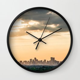 Downtown Denver // Vast Orange Yellow Sunset Sky Blue Clouds Skyline Wall Clock