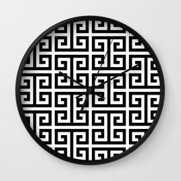 Large Black and White Greek Key Pattern Wall Clock