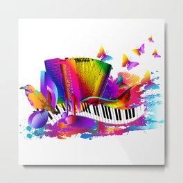 Colorful music instruments , accordion design Metal Print