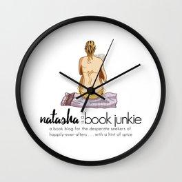 Natasha is a Book Junkie (logo) on white Wall Clock