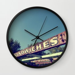 Old and rusty sandwiches signage Wall Clock