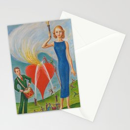 I Heart You In Flames; True Love Surrealism portrait painting by Nils Dardel Stationery Cards