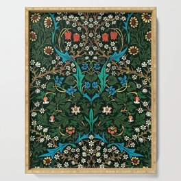 William Morris Tulips, Blue Columbine, Orchids, & Sunflowers Textile Flower Print Serving Tray