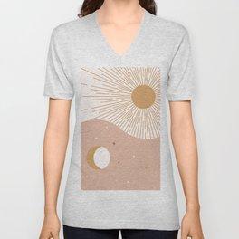 Yin Yang Blush - Sun & Moon Unisex V-Neck
