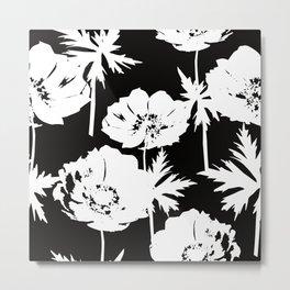 White flowers on black. Metal Print