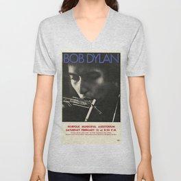 Vintage 1966 Bob Dylan Norfolk Virginia Concert Poster Unisex V-Neck