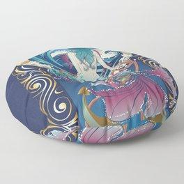Blue Mermaid with anchor art nouveau design Floor Pillow
