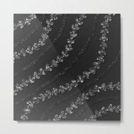 Glittery Silver Vines With  Black Glitzy Gauzy Ornaments Metal Print