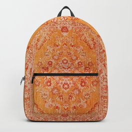 Orange Boho Oriental Vintage Traditional Moroccan Carpet style Design Backpack