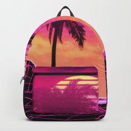Pink vaporwave landscape with rocks and palms Backpack